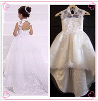 White/Ivory Sheer Neck Appliques Lace Open Back Chic New Long A Line Flower Girl Dress for Wedding 2014