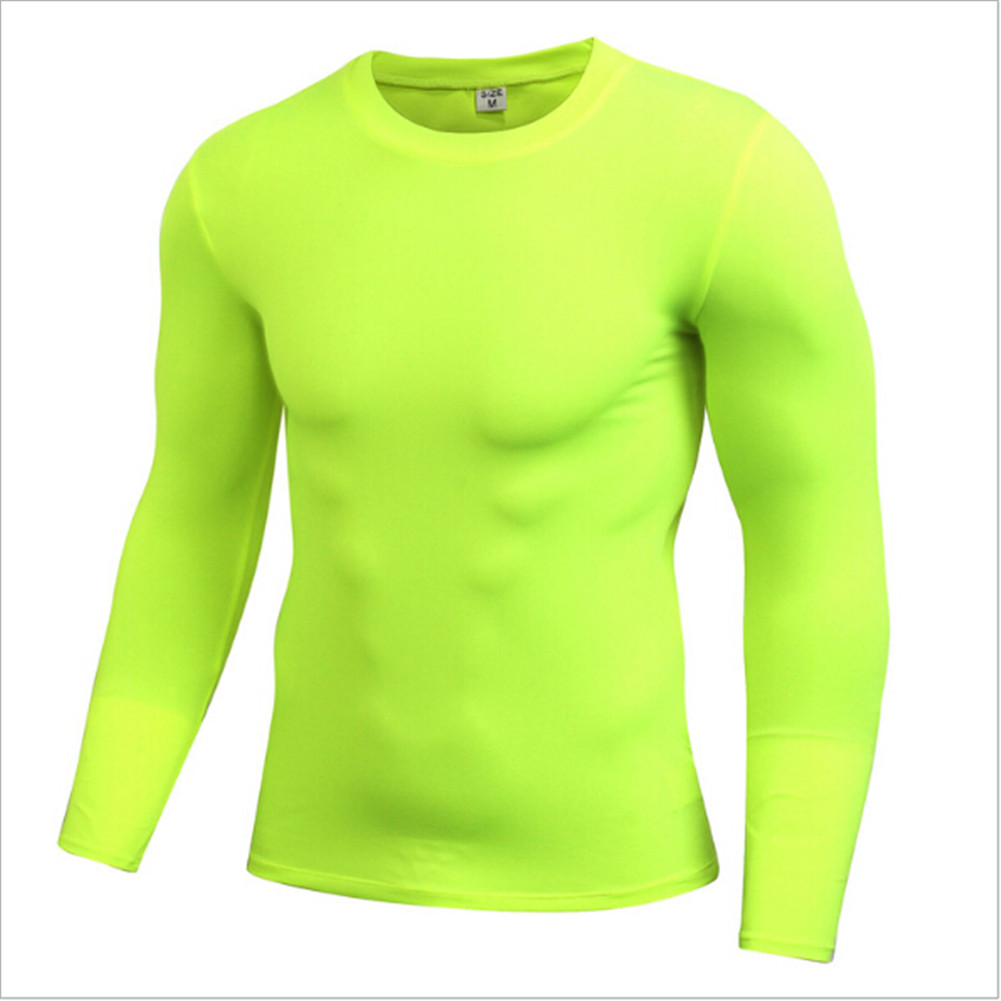 Men Bodybuilding Sports Gym Fitness Compression Base layer Under Shirt Thermal Long Sleeve Tops Skin Gear T-Shirt S-XXL 7 Colors