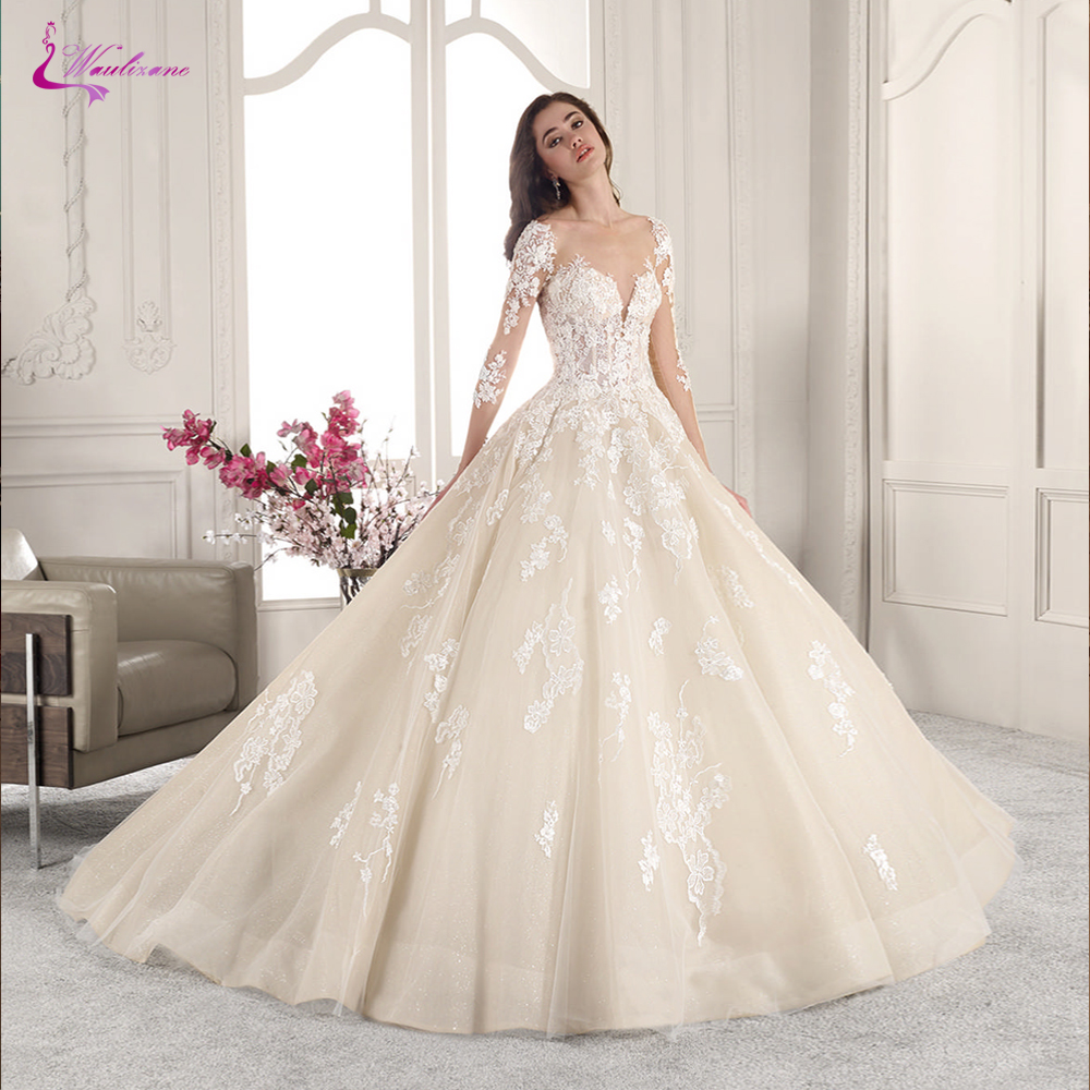 Waulizane Scoop Neckline Of Skin Color Tulle A Line Wedding Dress With Ivory Appliques Court Train