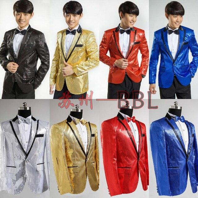 Paillette Male Master Sequins Dresses Stage Costumes Men Suit MC Host  Clothing Singer Suits Blazer Show Jacket Outerwear W114 6bab12c4c362