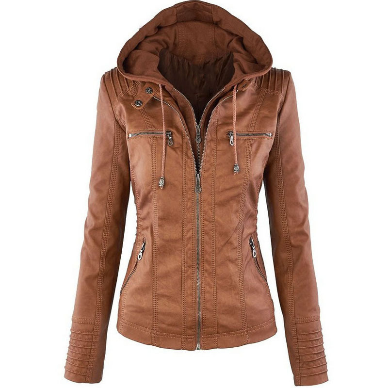 Gothic Faux   Leather   Jacket Women Casual Long Sleeve Zipper Hooded Jacket Female Fashion Solid Windbreak Plus Size Outerwear Coat