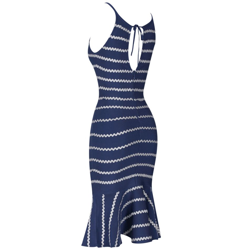 O Soirée Robe Strap Party Sexy cou Spaghetti Bandage Celebrity Robes Sirène Club Bleu Femmes Date qPaRw8gg