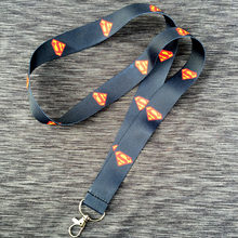 1 pc Superhero superman black Neck Straps Lanyard ID Badge Holders Mobile keychain cosplay gift high quality HD Printing(China)