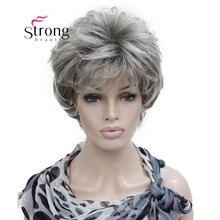 باروكة شعر مستعار كاملة من الشعر الطبيعي الرمادي والفضي قصير بطبقات قوية للنساء