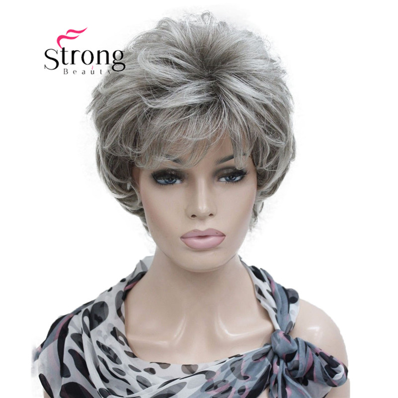 StrongBeauty Short Layered Silver Gray Ombre Full Synthetic Wig Women's Wigs COLOUR CHOICES