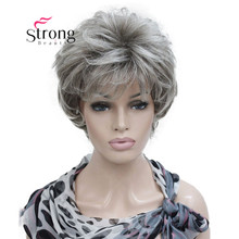 StrongBeauty peluca sintética de color degradado para mujer, postizo corto en capas, color plateado y gris