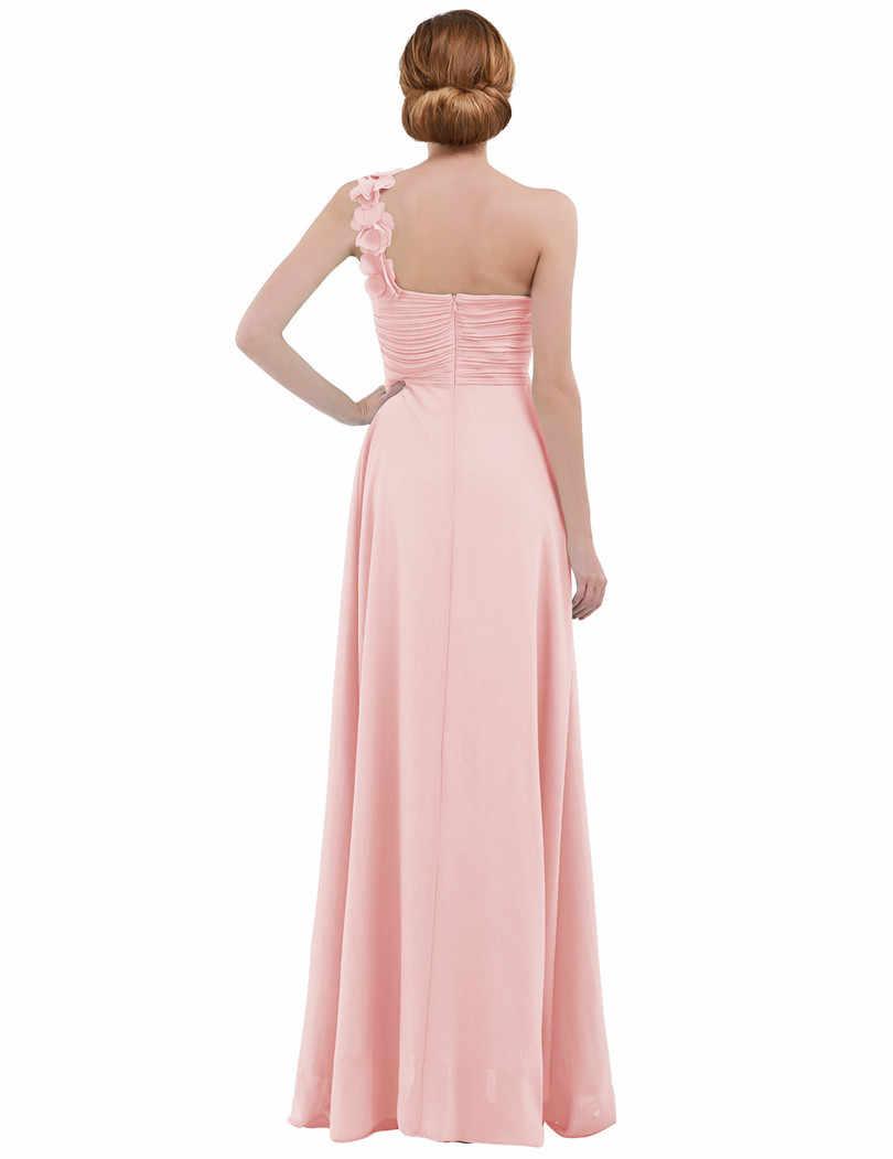 Розовое женское шифоновое платье подружки невесты высокая талия, длиной в Пол одно плечо Плиссированное кружевное свадебное платье подружки невесты es платье выпускного вечера