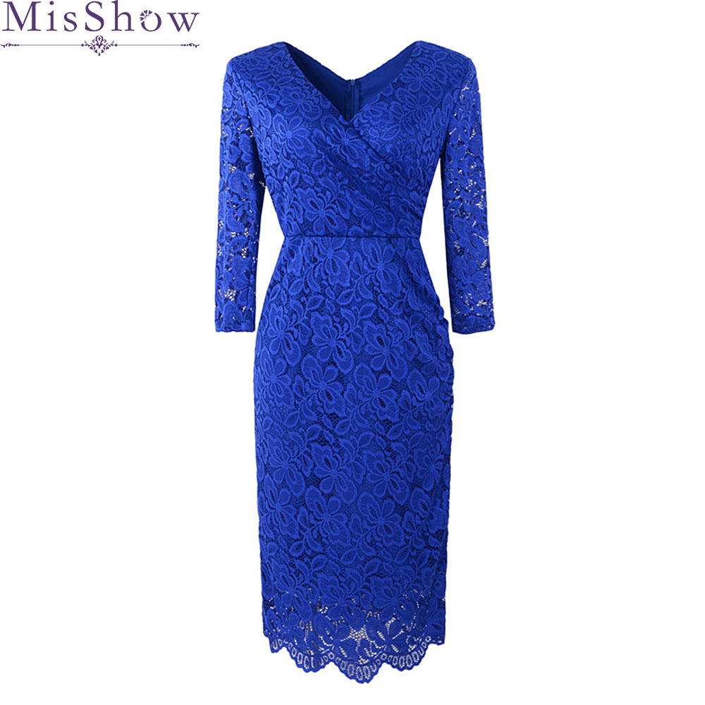 2019   Cocktail     Dresses   Royal Blue Lace Elegant Vintage Hot Sale Modern Half Sleeve Straight   Cocktail     Dress   for Women Prom   Dress