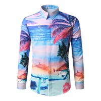 2017 Sonbahar Moda erkek Giysi Hawai Baskı Gömlek Erkek Uzun Kollu Yaka Slim Fit Casual Tops Gömlek Camisa Masculina
