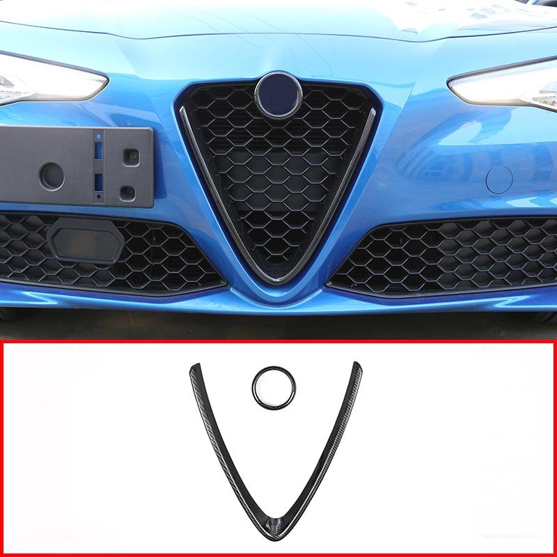 Carbon Fiber Front Grille Grill Logo Frame Trim For Alfa Romeo Giulia 2017 2018