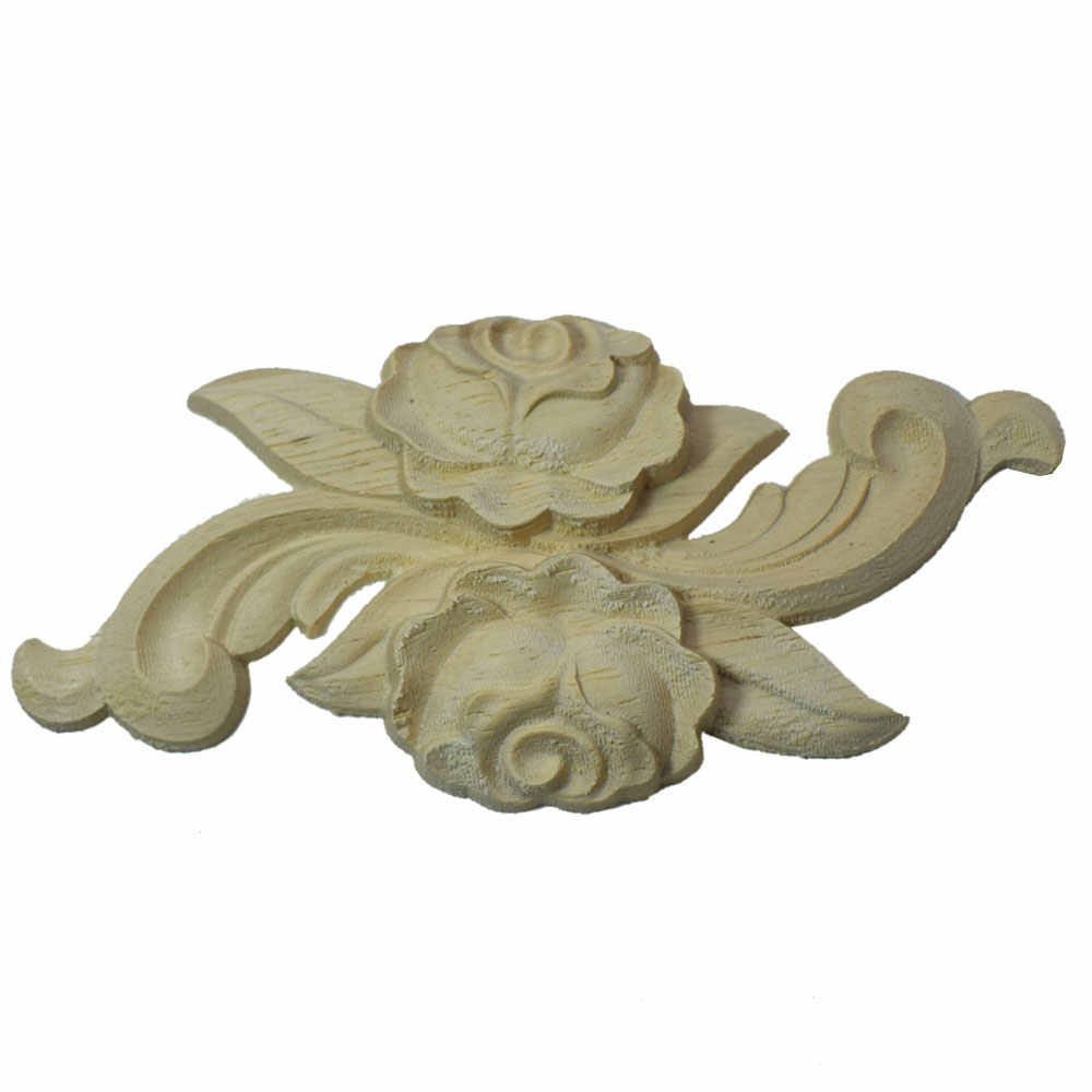 Wood Applique Carved Corner Onlay European Style Door Cabinet Rose Flower Unpainted Sculptures for Home Wall Decor 1Pc