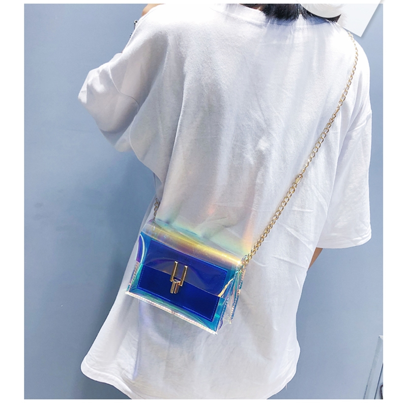 JIAOO Laser Transparent Bags Fashion Women Crossbody Bags for Women Korean Style Shoulder Bag Messenger PVC Waterproof Beach Bag 7