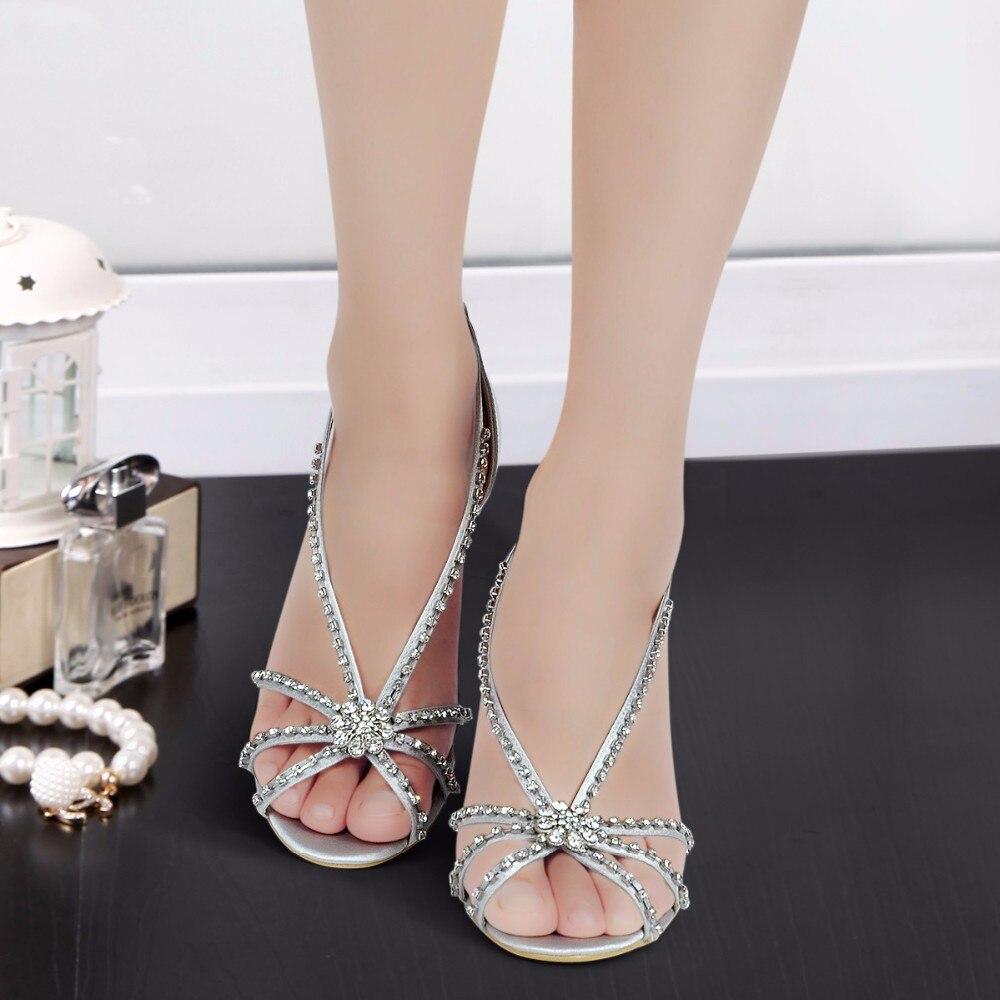 Woman Shoes MC 023 Size 8 Silver Open Toe T strap Rhinestones Wedges ... fc336746d18c