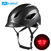 INBIKE City Road Cycling Helmet With Taillights Helmet Integrally molded Men Women Bike Helmet BackLED Light For Bicycle Scooter