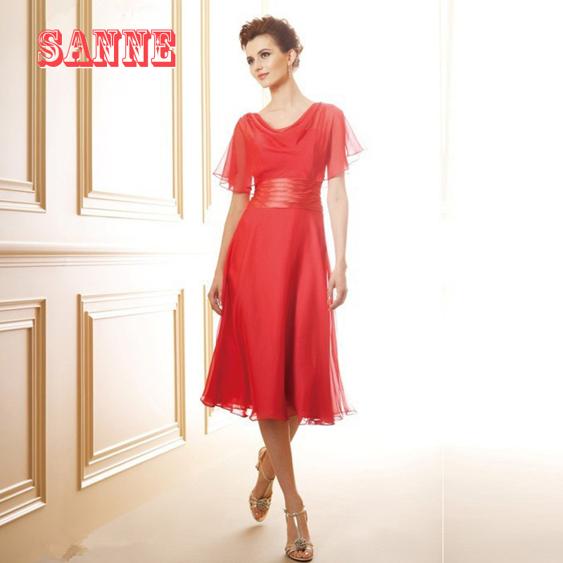 2016 Red Chiffon Mother Of The Bride Dresses A Line Tea