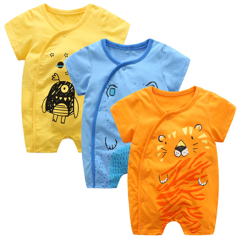 2018 Summer  Baby Boy Romper Newborn  Short Sleeve 100% Cotton Jumpsuit Cartoon Printed Baby Rompers Overalls  Baby Boy Clothes high quality 100% cotton baby boy girl romper toddler superman rompers newborn cartoon clothes short sleeve for summer bebes