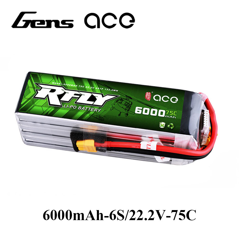 Gens ace RFly 6000 mah 22.2 v 75C Max 150C Lipo 6 s Batterie avec XT60 Plug pour Traxxas Bateau hélicoptère à Voilure Fixe Drone De Voiture