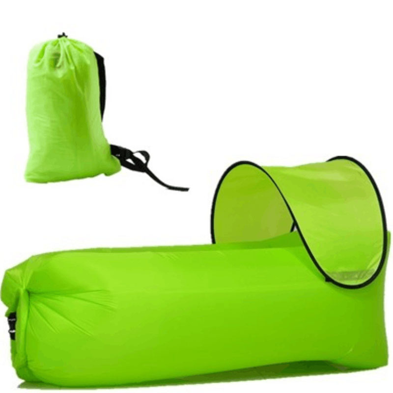 Nouveau sac gonflable imperméable léger paresseux canapé camping sacs de couchage lit d'air adulte chaise longue de plage pliage rapide + pare-soleil