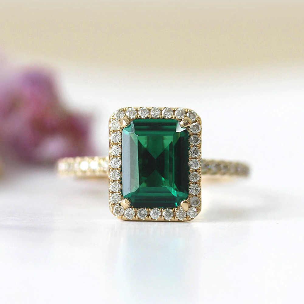 14k Yellow Gold 2 7ct Carat Emerald Cut Engagement Wedding Ring