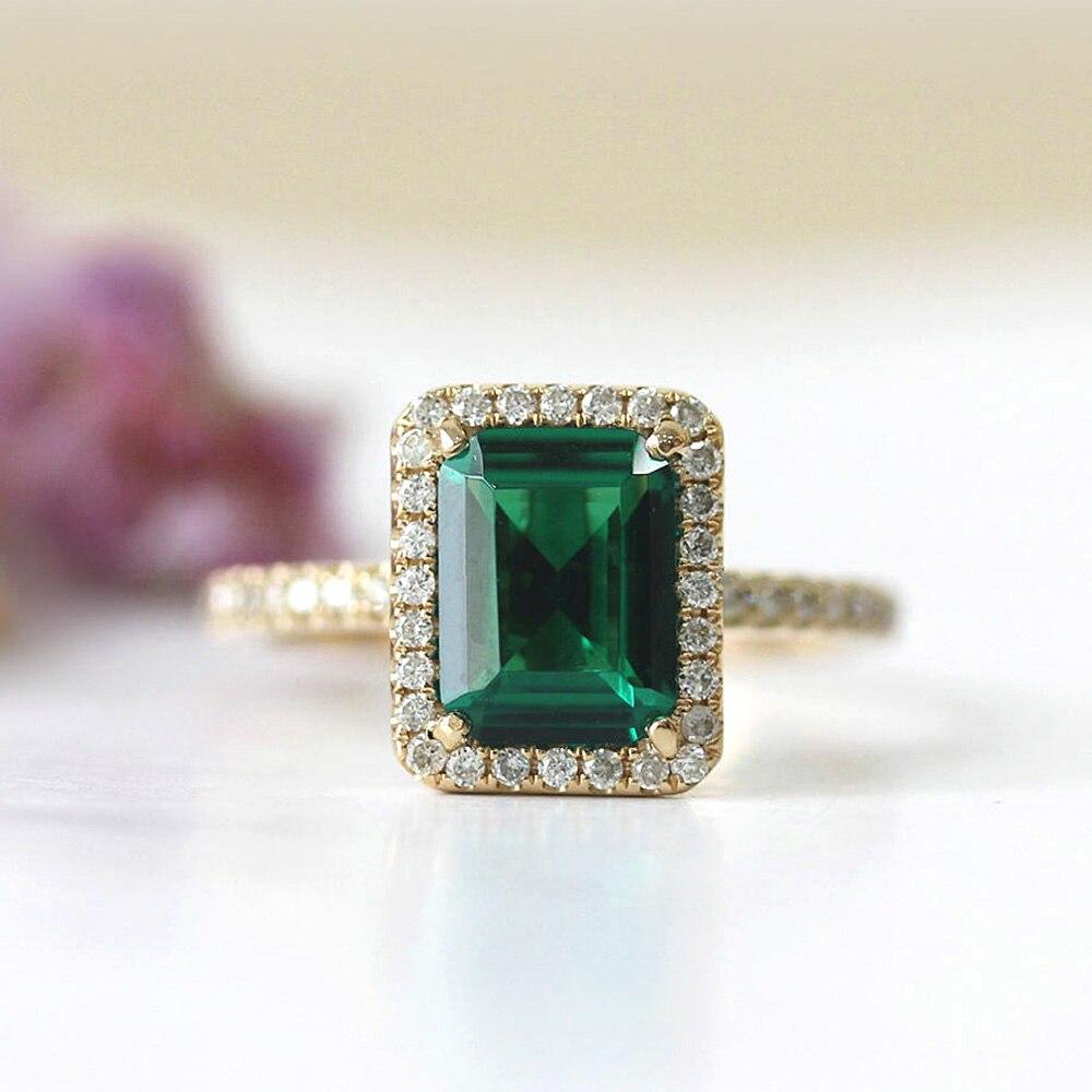 14k Yellow Gold 2.7ct Carat Emerald Cut Engagement Wedding Ring for Women Green Moissanite Diamond Ring Set Test Positive