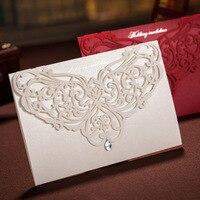 100pcs 2Colors Vertical Elegant Engagement Laser Cut Flower Wedding Invitation Card With Rhinestone Wedding Favors Custom