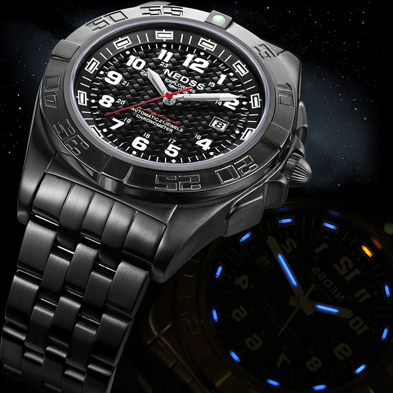 Luxury Brand NEDSS Fashion Male Steel tube gas Automatic Mechanical Watches Men's Sports Military Wrist Watch relogio masculino