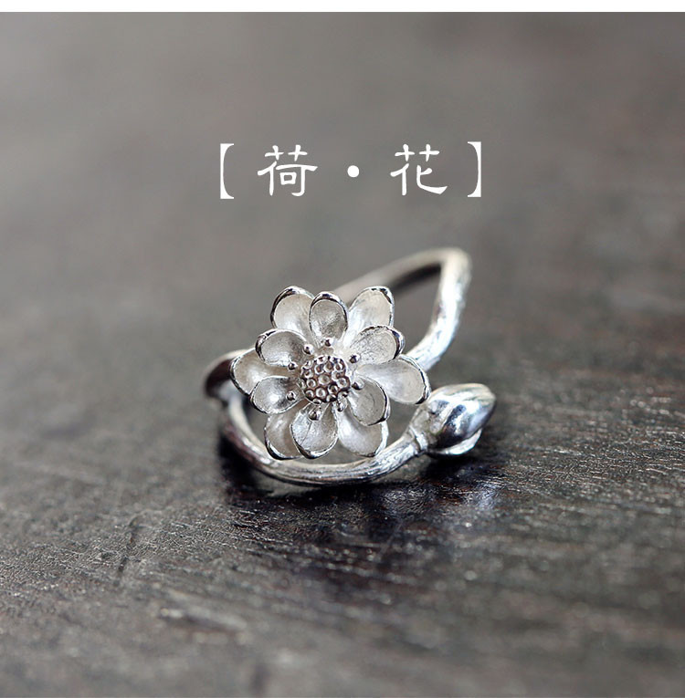 2016 Free Shipping 925 Sterling Silver Lotus Flower Rings For Women Jewelry Beautiful Open Rings For Party Birthday Gift