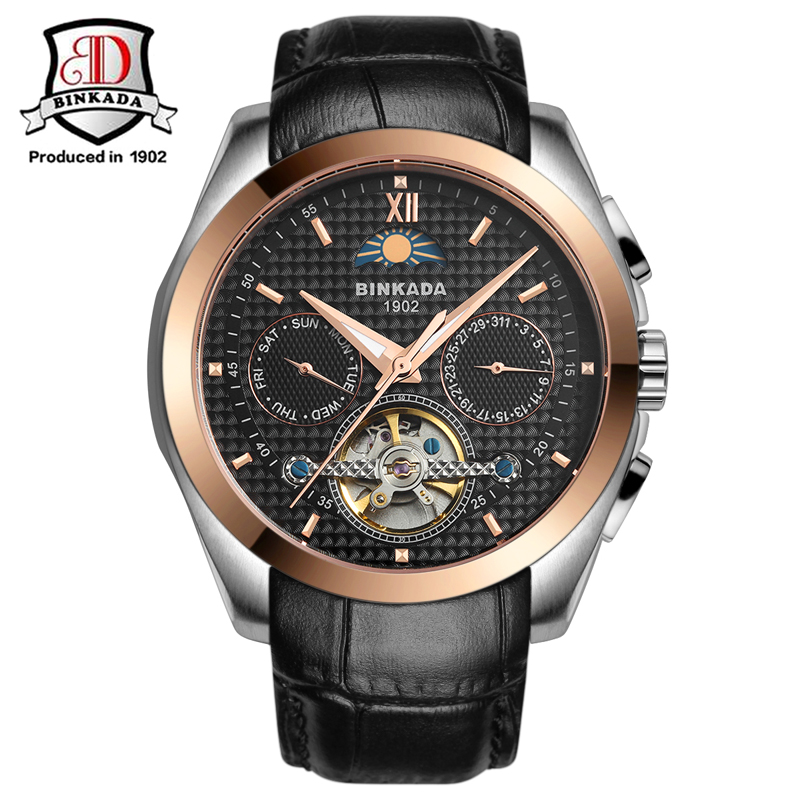 лучшая цена 2017 Fashion Luxury Brand BINKADA Tourbillon Watch Automatic Men Wristwatch Sapphire Mechanical Steel Watches Relogio Masculino