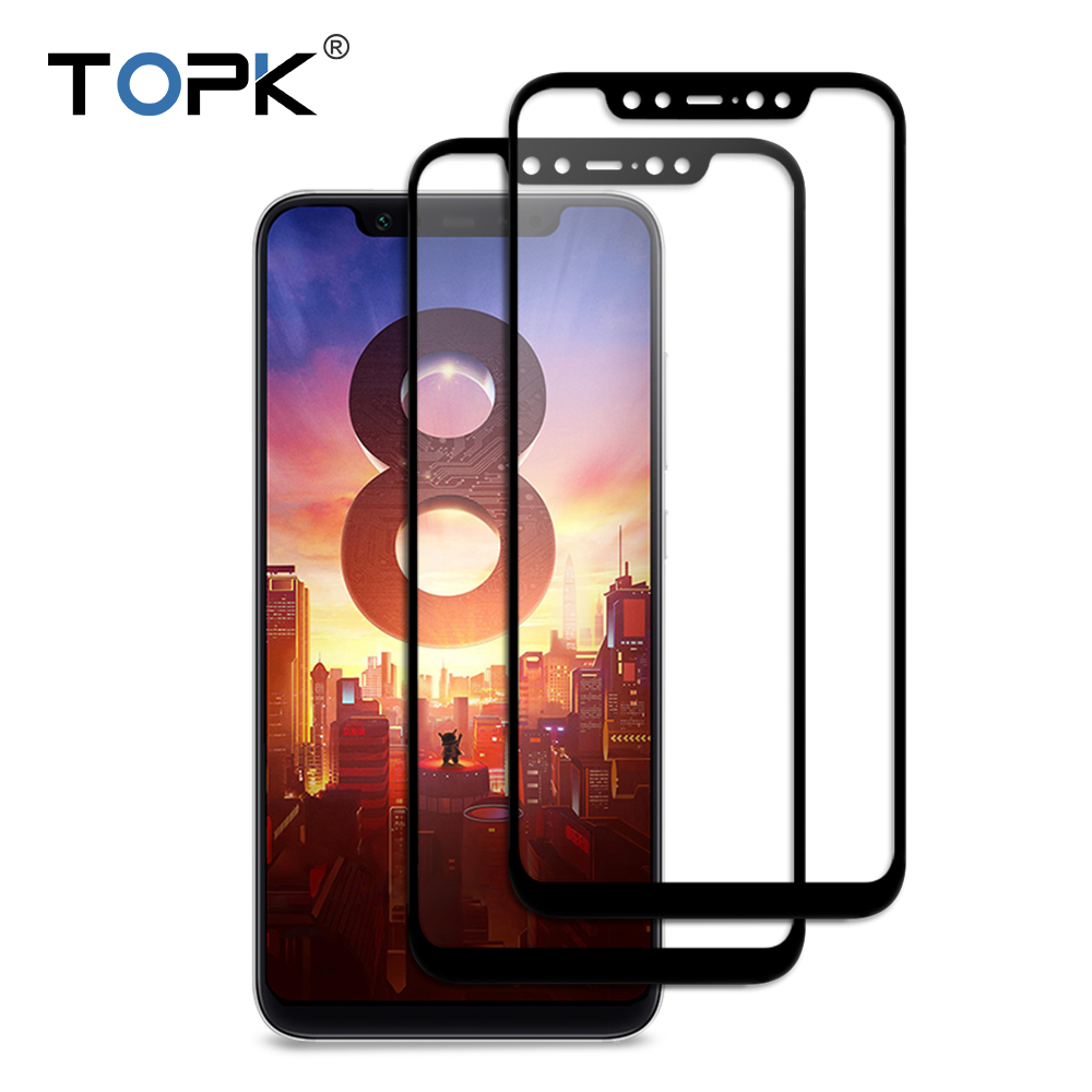 Para Xiao mi 8 mi 8 SE vidrio templado, TOPK 9 H dureza cubierta completa Protector de pantalla película protectora para Xiao mi 8 M8 SE