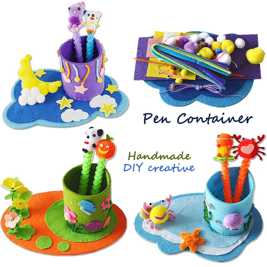 DIY Handmade Sewing Craft Kit Non-woven Fabric Toys Pen Container,Creative Pen-holder Art & Crafts Educational Toys for Kids