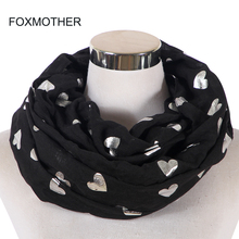 FOXMOTHER New Fashion Black Color Foil Sliver Love Heart Scarfs Snood Neck Warmer Loop Scarves Women Ladies