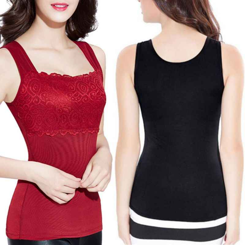 Womens Plus Size Winter Warm Thickened Tank Tops Skinny Thermal Underwear  Body Sculpting Vest Floral Lace e0dfa68a0