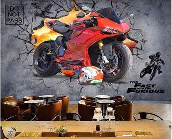 3d wallpaper custom photo large Industrial wind motorcycle broken wall bar murals papers home decor for living room