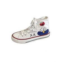 Sesame Street canvas shoes female high help graffiti couple