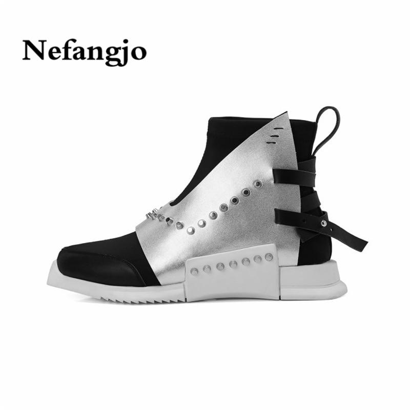 Nefangjo 2018 hiver nouveau rivet wedge bottes de mode bout rond plate-forme femmes cheville bottes résistant à l'usure non-slip à semelles de caoutchouc