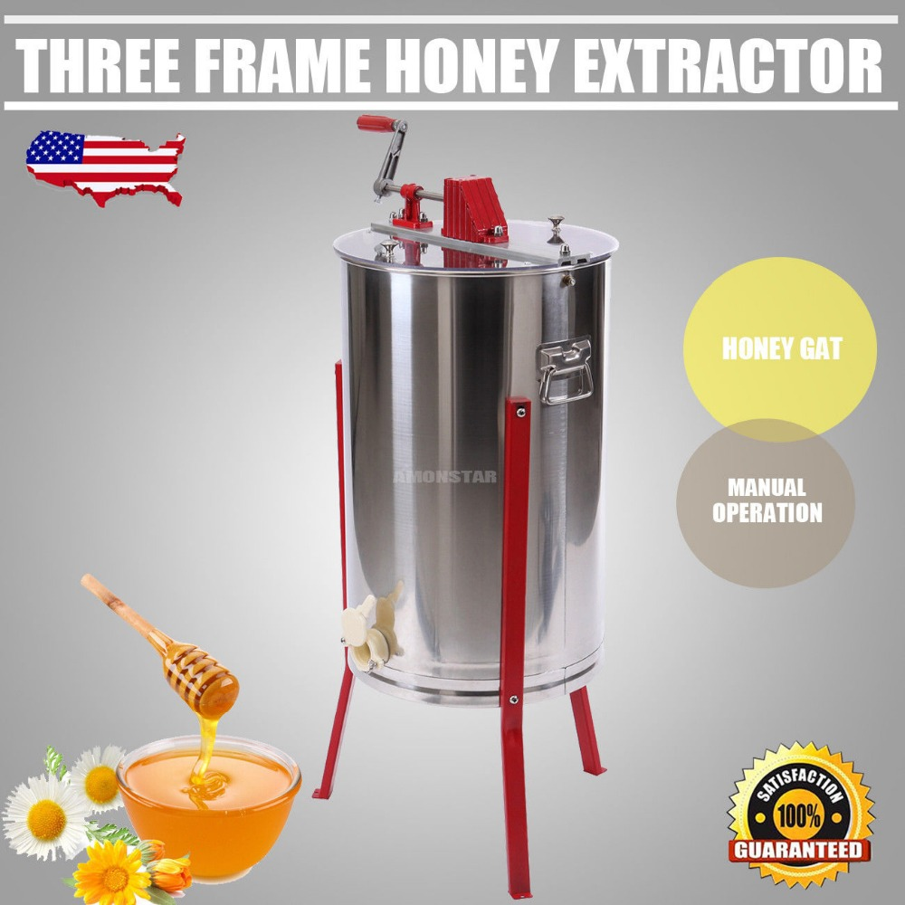 (Ship from USA) 3 Frame Stainless Steel Manual Bee Honey Extractor Honeycomb Drum Garden for cq40 series 510566 001 laptop motherboard fully tested