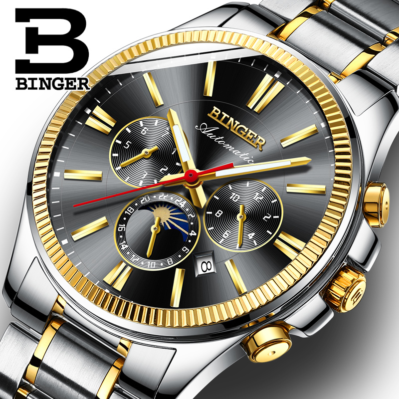 BINGER Watch Men Luxury Brand Automatic Mechanical Watch Sapphire Wristwatches Moon Phase relogio masculino Men Watches B1180-4 binger new man cz diamond watch white gold quality brand automatic mechanical watches luxury sapphire ruby skeleton wristwatches page 5 page 4 page 4