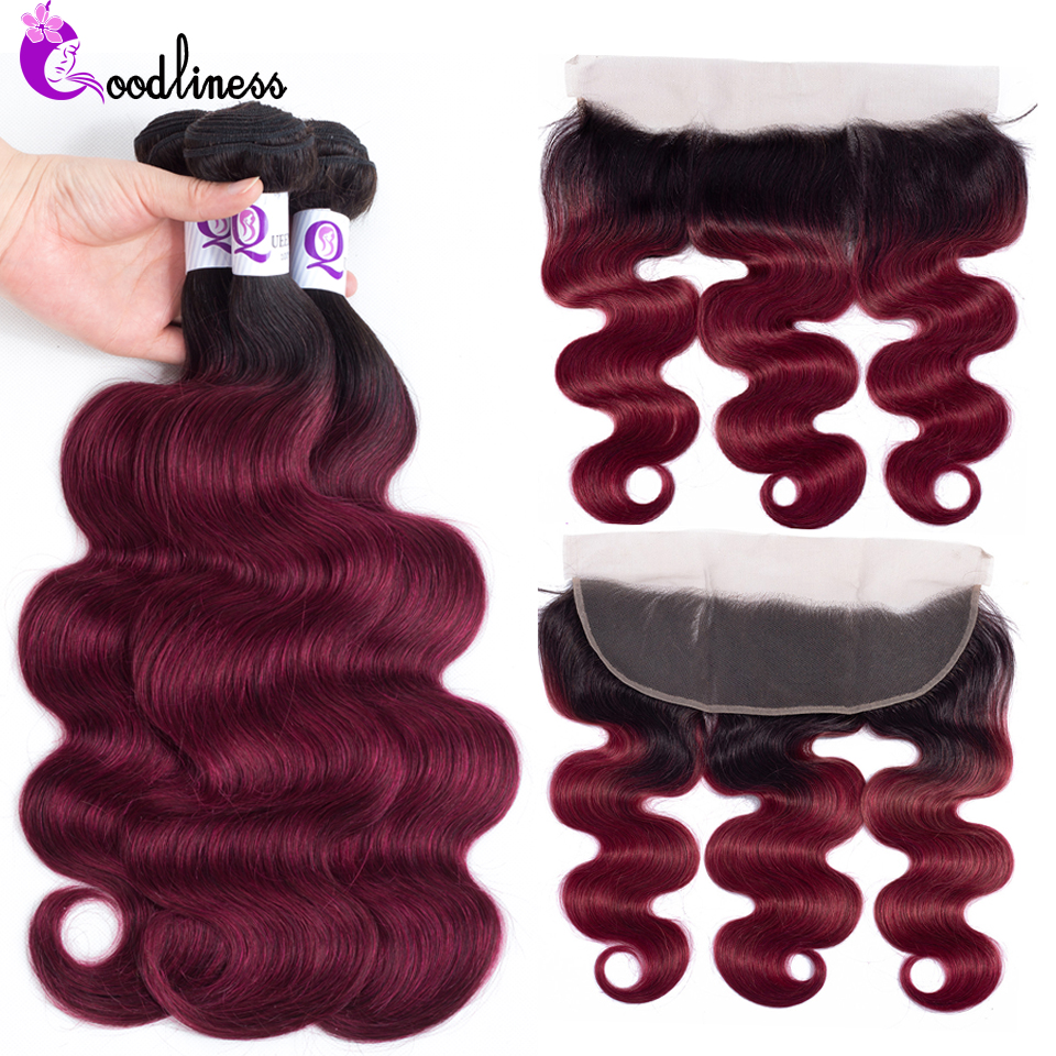 Goodliness 1b/Burgundy Ombre Body Wave Bundles With Frontal Closure 2 Tone Red Remy Peruvian Hair Colored 3 Bundles With Frontal