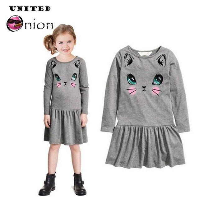 89effb9ca0e9 Baby Girls long sleeve Dress Printed cartoon cat Girl Dresses Lovely ...