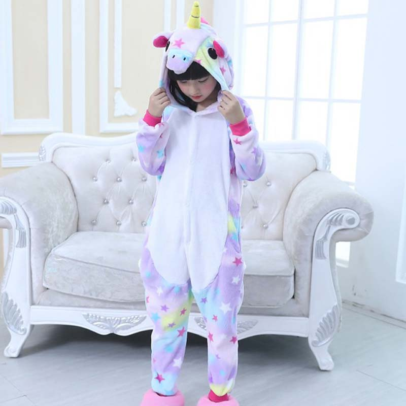 Kids Unicorn Pajamas Onesie,Children Animal Stars Unicorn Sleepwear Party Costumes Anime Hoodie Pyjama For Girls Boys christmas rainbow unicorn animal family onesie pajamas