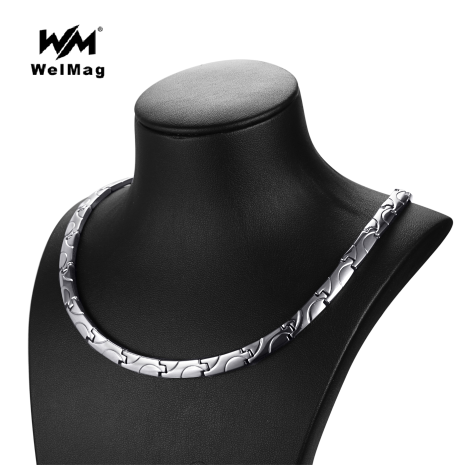 WelMag 2017 Fashion Healthy Bio Energy Magnetic Necklace Titanium Power Necklaces Classic Link Chain For Women