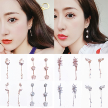 Korean Fashion Crystal Earrings 2019women Cubic Zircon Flowers Long Tassel Dangle Drop for girls Trendy Acrylic Jewelry