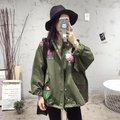 Spring and Autumn New Arrival Women Fashion Loose Casual Plus Size Clothes, Female Quality Floral Embroidery Army Green Jackets