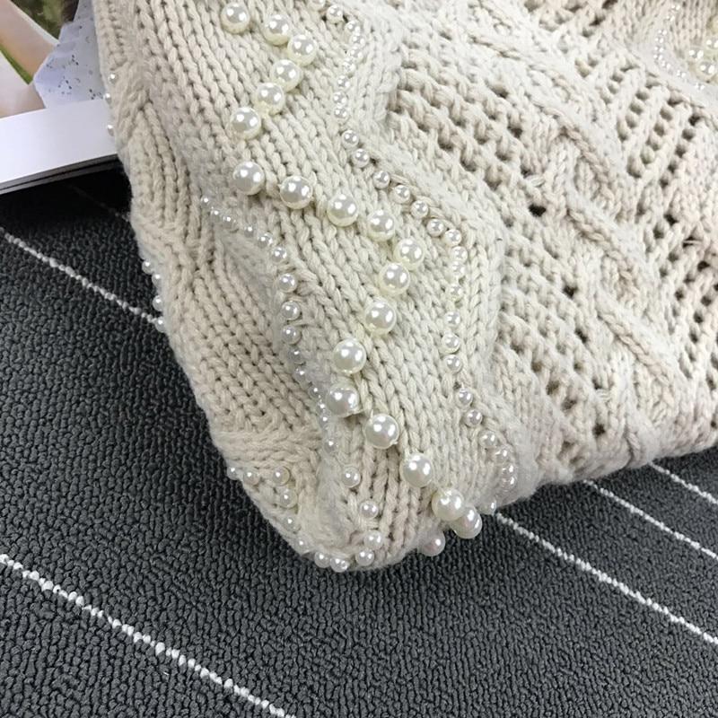 Laine Pur Creux Perlé Mode cou Personnalisé Chandail Alpaga Main Printemps Transporté Pull D'urgence Gamme Femmes Nouveau De 2018 O Crochet Cheveux Haut Beige dXTAwxqZAH