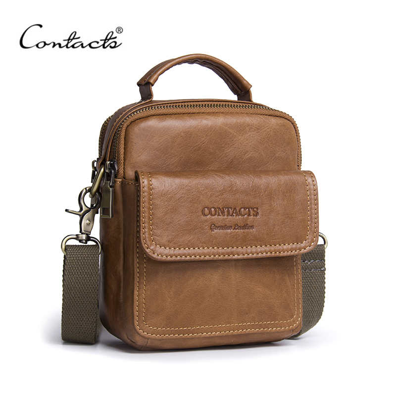 все цены на CONTACT'S Men's Bag New 2018 Hot Sale Genuine Leather Zipper Bag Man Famous Brand Designers Shoulder Bags Fashion Messenger Bags