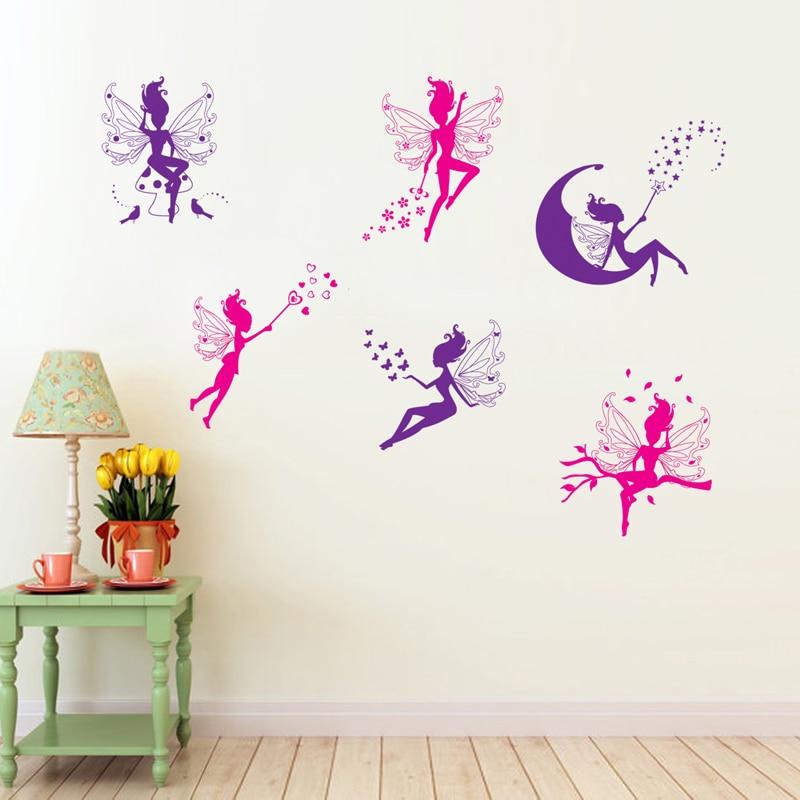 Cartoon Six Little fairy wall sticker for kids girls room home decor DIY art background decals decorations cute Elf stickers