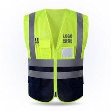 Бесплатный Пользовательский логотип светоотражающий жилет сетка дышащая конструкция защитная одежда дорожный Предупреждение ющий флуоресцентный жилет