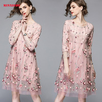 Summer Women Dress 2019 Sexy Vintage Bodycon Elegant Retro Mesh embroidery Midi Floral Casual party night Club Long Pink Dress