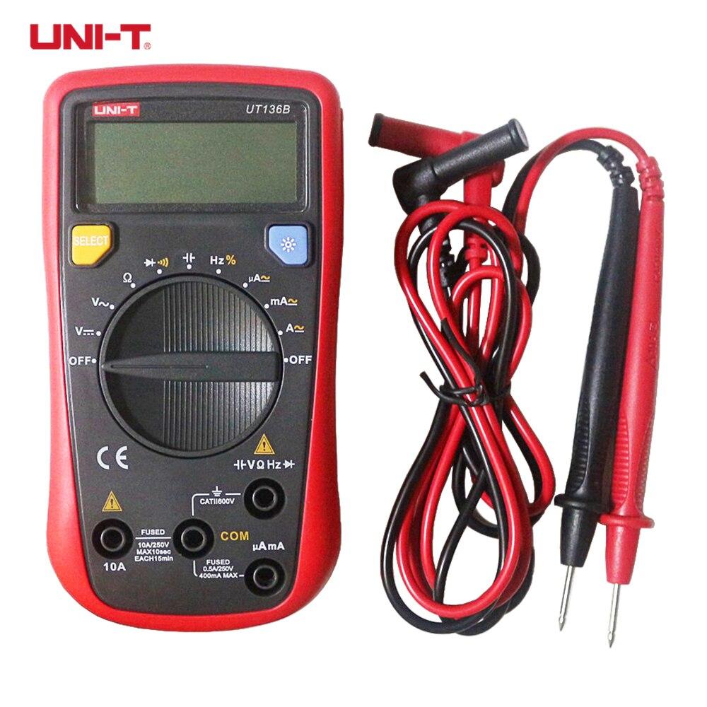 UNI-T UT136A UT136B UT136C Multimètre Numérique Mini Auto-allant De Poche Multimetro AC/DC Tension Courant Résistance Testeurs
