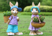 Rustic animal sculpture resin rabbit craft outdoor decoration 2pcs/lot garden decor home Ornaments
